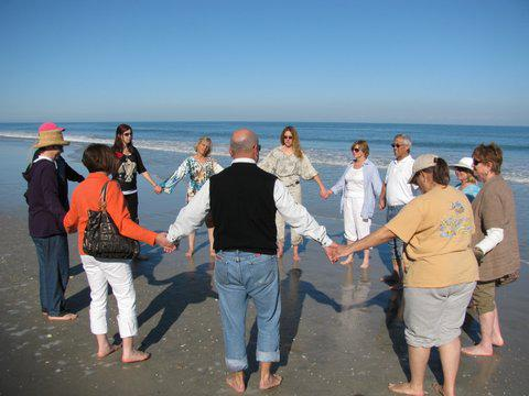 energy healing circle on the beach