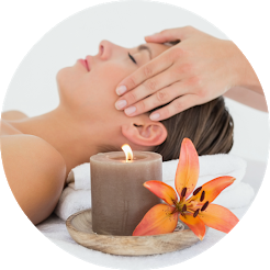 reiki energy healing on woman's head, reiki certification class level I