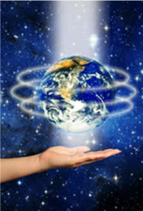 hand underneath global, healing light circling globe, coming also in from the crown of the globe, free global energy healing and guided meditation