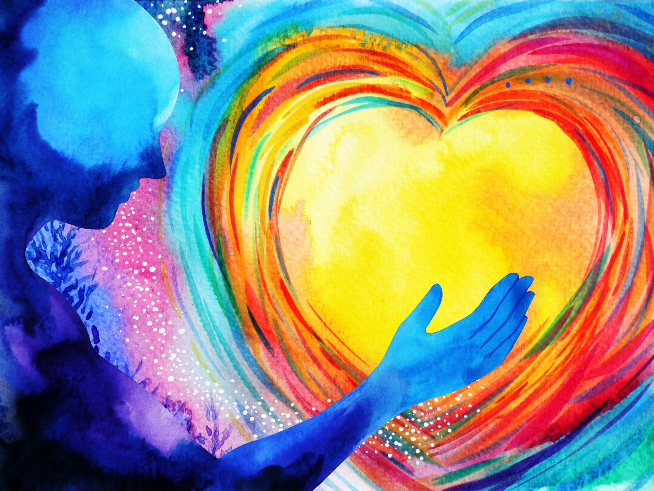 painting, person holds colorful heart, free global energy healing and guided meditation